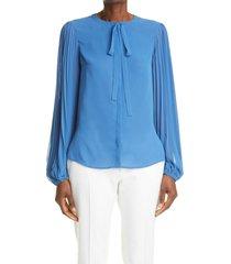 women's akris punto plisse sleeve bow blouse, size 4 - blue