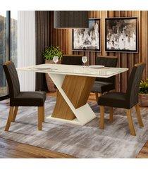 mesa de jantar 4 lugares carol nature/off white/marrom - bci móveis