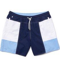men's lacoste colorblock swim trunks, size small - blue