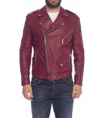 chaqueta de cuero rojo mani