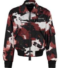dolce & gabbana camouflage print nylon bomber jacket