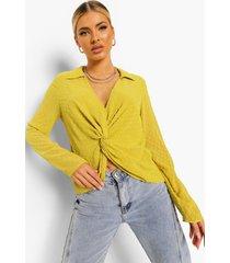 geknoopte dobby mesh blouse met laag decolleté, chartreuse