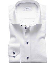 eton overhemd slim fit wit navy details