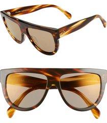 women's celine 58mm universal fit flat top sunglasses - blonde havana/ brown mirror