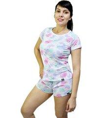 pijama conjunto camiseta arco iris e short arco iris feminino - feminino