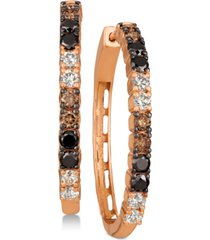 le vian chocolate layer cake blackberry diamonds, chocolate diamonds & nude diamonds hoop earrings (1-5/8 ct. t.w.) in 14k rose gold