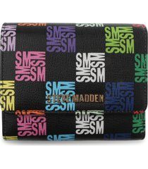 steve madden vick trifole faux leather wallet in black at nordstrom