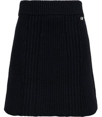blumarine pleated knitted skirt with logo