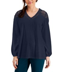 jm collection crochet-shoulder top, created for macy's