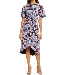 maggy london belted faux wrap dress, size 16 in wine/blue at nordstrom