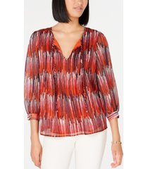 tommy hilfiger printed tie-neck top, created for macy's