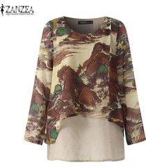 zanzea camisa casual con cuello redondo para mujer blusa suelta con estampado floral tallas grandes -marrón