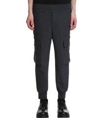 neil barrett pants in grey polyester