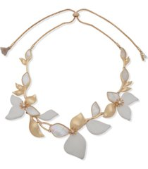 """lonna & lilly gold-tone pave, mother-of-pearl & leather flower 26"""" adjustable necklace"""
