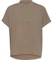 renya cupro jrsy drwstnghem tp t-shirts & tops short-sleeved beige french connection
