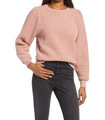 women's treasure & bond brushed fleece sweatshirt, size medium - pink