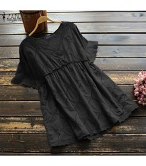 zanzea plus size summer t-shirt tops hollow out lace crochet tee shirt blusa -negro