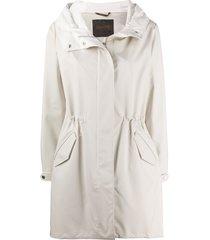 moorer drawstring hooded coat - neutrals
