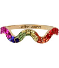 betsey johnson rainbow stone wavy hinged bangle bracelet