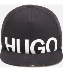 hugo men's large logo cap - black/white