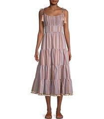 stripe tie-shoulder tiered dress