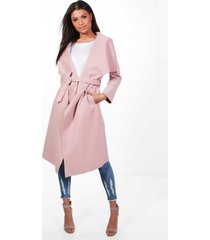 belted waterfall coat, blush