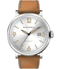 blackwell white silver tone dial with silver tone steel and bright brown leather watch 44 mm