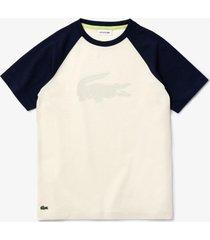 camiseta lacoste regular fit branco - branco - menino - dafiti