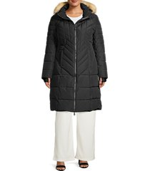 pajar canada women's plus faux fur-trim hooded puffer jacket - black - size 1x (14-16)