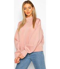 high neck super oversize scuba sweatshirt, dusky pink