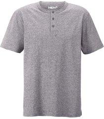 t-shirt med knappar i halsen men plus grå