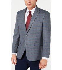 tommy hilfiger men's modern-fit thflex stretch gray/blue windowpane sport coat