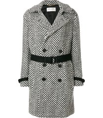 saint laurent chevron-stripe double-breasted coat - black