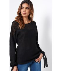 black crew neck tie-up long sleeves semi sheer t-shirt