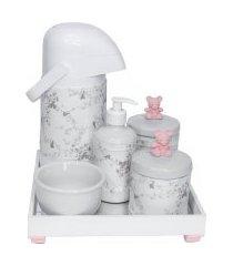 kit higiene espelho completo porcelanas, garrafa e capa ursinho rosa quarto bebê menina