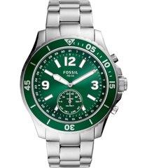 fossil men's tech fb-02 stainless steel bracelet hybrid smart watch 48mm