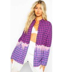 tall geborstelde geruite dip dye gebleekte oversized blouse, purple