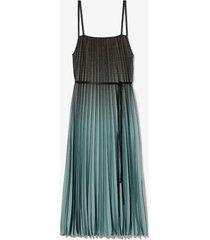 proenza schouler white label ombré plaid pleated dress 22491 steel blue/blk ombre plaid/green 8