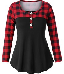 plus size button detail plaid panel t-shirt