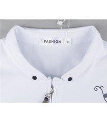 camiseta con manga larga estampada con cremallera solapa para hombre