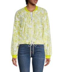 kenzo women's printed bomber jacket - green - size xs