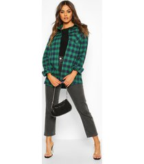 oversized geruite boyfriend blouse, groen