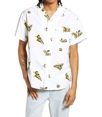 men's obey butterfly slim fit short sleeve button-up shirt, size small - white