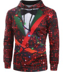christmas sequin print faux tuxedo front pocket hoodie