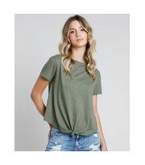 camiseta de algodão básica com nó manga curta decote redondo verde militar