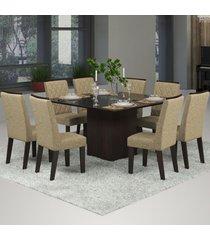 mesa de jantar 8 lugares jóia nogueira/gold/preto - viero móveis