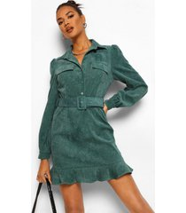 top met contrasterende stiksels en wijd uitlopende broek set, green