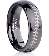 6mm tungsten ring wedding band baseball engrave comfort fit sizes 4-16 & half