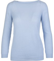 fedeli woman azure cashmere pullover with boat neck