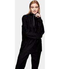 topman black twill 1/4 zip sweatshirt - black